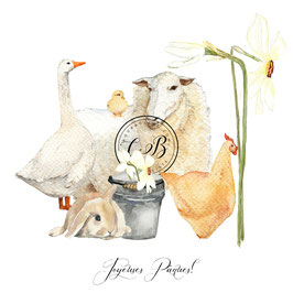 Joyeuses Pâques lapin,  oie, mouton...narcisses