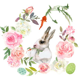 Couronne de fleurs, carottes et lapin