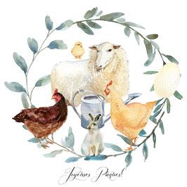 Carte Joyeuses Pâques 2 poules, lapin couronne de feuilles