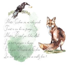 carte fable le corbeau et le renard