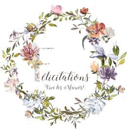 Mariage, félicitations, vive les mariés!