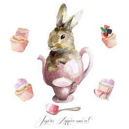 Carte joyeux Anniversaire, c'est l'heure du thé !