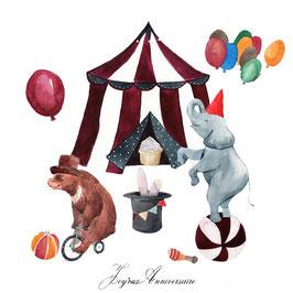 Carte anniversaire sur le cirque