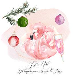 Noël exotique... inscriptions sur la carte Joyeux Noël, beaucoup de bonheur pour cette Nouvelle Année !