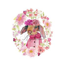 Carte lapine rose