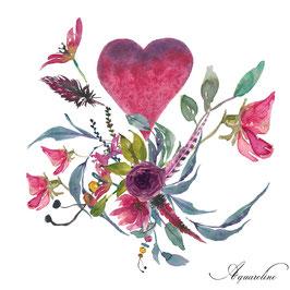 St valentin, coeur, fleurs et plumes