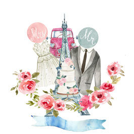 Mrs & Mr carte de mariage à personnaliser avec les prénoms des mariés
