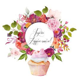 Carte anniversaire couronne de fleurs et cupcake