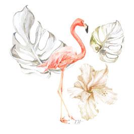 Flamant rose et feuilles