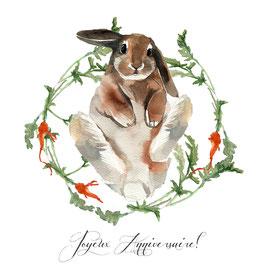 Joyeuses  anniversaire lapin et carottes