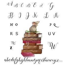 Abecedaire souris sur pile de livres