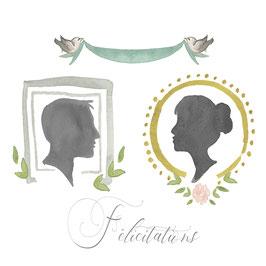 félicitations, portraits silhouettes.