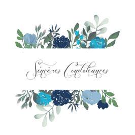 Sincères condoléances bandeaux  fleurs bleues