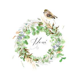 Carte couronne fleurs et  oiseau, Merci.