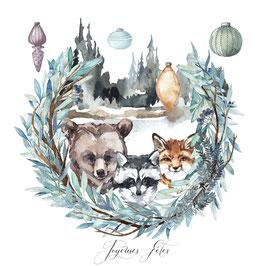 carte Ours, racoon, et renard