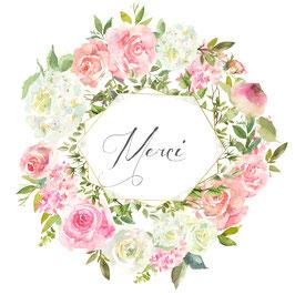 Carte merci, couronne de fleurs