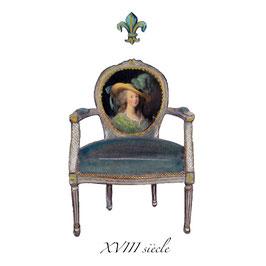 Marie-Antoinette siècle des lumières XVIII fauteuil médaillon