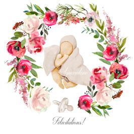 Félicitations , couronne de roses et bébé