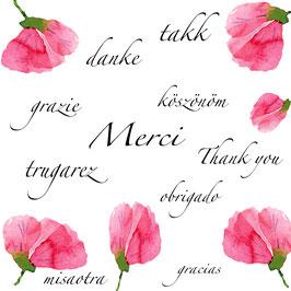 Carte Merci dans plusieurs langues pétales roses