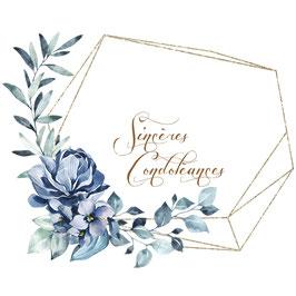 Sincères condoléances, couronne dorée et fleurs bleues
