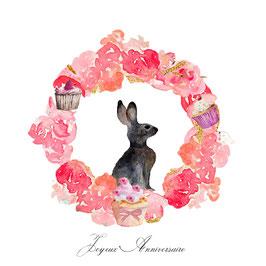 Carte anniversaire, lapin et  fleurs