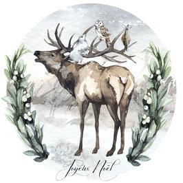 Joyeux Noël Cerf, lièvre et hibou
