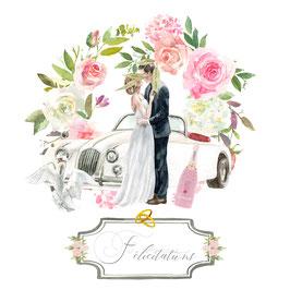 Félicitations mariés devant une voiture, anneau, champagne.