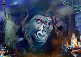 Affe KING 3 - Gorilla Kunstdruck -Hochwertiger Kunstdruck auf Leinwand  Animal Print