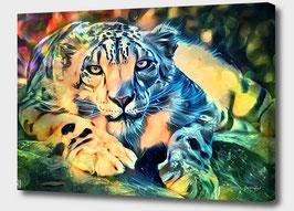 Leopard - KARISMA 2 - Leopard Kunstdruck -Hochwertiger Kunstdruck auf Leinwand  Animal Print