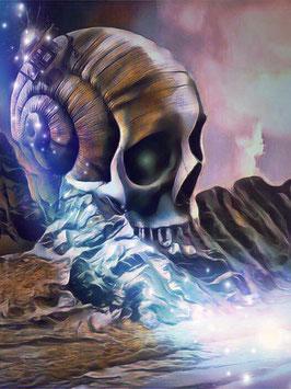 Fantasy - SKULL 1 -Fantasy Kunstdruck -Hochwertiger Kunstdruck auf Leinwand Fantasy Science Fiction