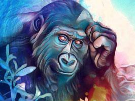 Affe KING 1 - Gorilla Kunstdruck -Hochwertiger Kunstdruck auf Leinwand  Animal Print