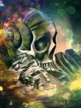 Fantasy - SKULL 3 -Fantasy Kunstdruck -Hochwertiger Kunstdruck auf Leinwand Fantasy Science Fiction