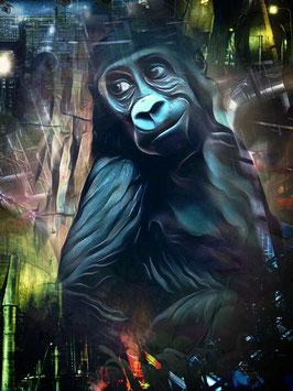 Affe KONG 3- Gorilla Kunstdruck -Hochwertiger Kunstdruck auf Leinwand  Animal Print