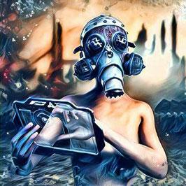Steampunk - CYBERPUNK 2 -  Kunstdruck -Hochwertiger Kunstdruck auf Leinwand Cyberpunk