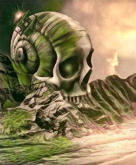 Fantasy - SKULL 5 -Fantasy Kunstdruck -Hochwertiger Kunstdruck auf Leinwand Fantasy Science Fiction