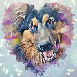 Hunde SCHÄFER 2 -Kunstdruck Schäferhund - Kunstdruck -Hochwertiger Kunstdruck auf Leinwand