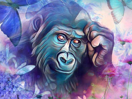 Affe KING 5 - Gorilla Kunstdruck -Hochwertiger Kunstdruck auf Leinwand  Animal Print