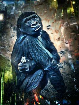 Affe KONG 1- Gorilla Kunstdruck -Hochwertiger Kunstdruck auf Leinwand  Animal Print