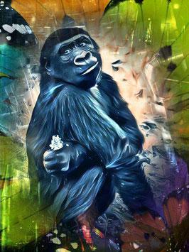 Affe KONG2- Gorilla Kunstdruck -Hochwertiger Kunstdruck auf Leinwand  Animal Print