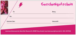 Geschenk Gutschein per Post Wert 50 Euro