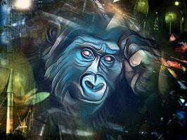 Affe KING 2 - Gorilla Kunstdruck -Hochwertiger Kunstdruck auf Leinwand  Animal Print