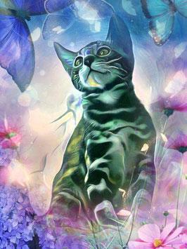 KITTY CAT 4- Katzen Kunstdruck -Hochwertiger Kunstdruck auf Leinwand  Animal Print