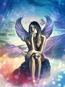 Zauberhafte Welten - ENGEL 1 -Magische Wesen - Kunstdruck -Hochwertiger Kunstdruck auf Leinwand Magie