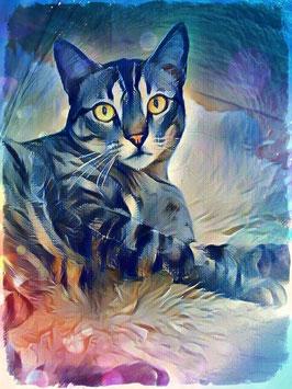Katze LAZY CAT 1 - Katzen Kunstdruck -Hochwertiger Kunstdruck auf Leinwand  Animal Print