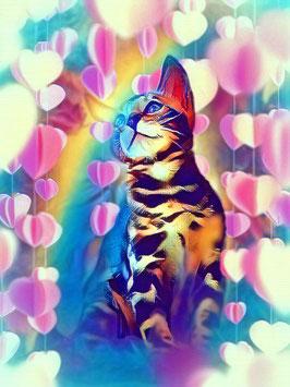 KITTY CAT 3- Katzen Kunstdruck -Hochwertiger Kunstdruck auf Leinwand  Animal Print
