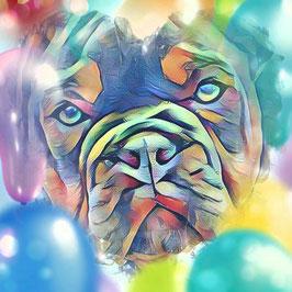 Hunde BULLI 4 - Kunstdruck Bulldogge - Kunstdruck -Hochwertiger Kunstdruck auf Leinwand