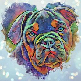 Hunde BULLI 1 -Kunstdruck Bulldogge - Kunstdruck -Hochwertiger Kunstdruck auf Leinwand