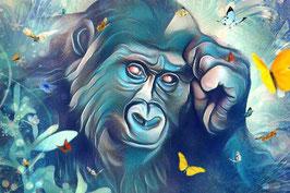 Affe KING 8 - Gorilla Kunstdruck -Hochwertiger Kunstdruck auf Leinwand  Animal Print
