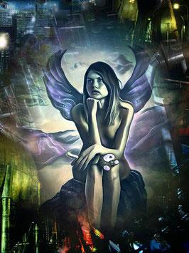 Zauberhafte Welten - ENGEL 3 -Magische Wesen - Kunstdruck -Hochwertiger Kunstdruck auf Leinwand Magie