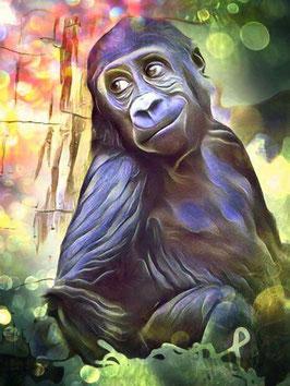 Affe KONG 4- Gorilla Kunstdruck -Hochwertiger Kunstdruck auf Leinwand  Animal Print